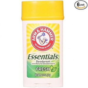Arm & Hammer Essentials Natural Deodorant, Fresh 2.5 Oz (Pack Of 6)