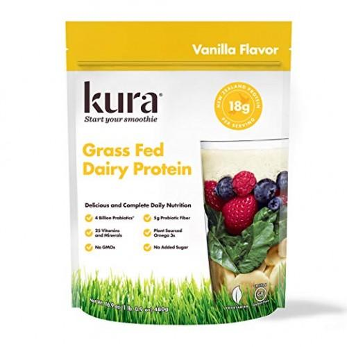 Kura Grass Fed Dairy Protein Powder, Vanilla, New Zealand Born, 1.05 Pound