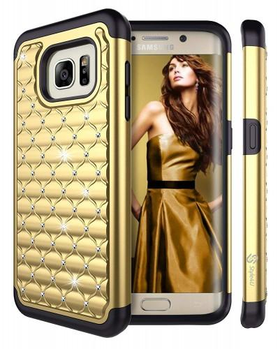 Style4U Studded Rhinestone Crystal Bling Hybrid Armor Case Cover [Gold / Black]
