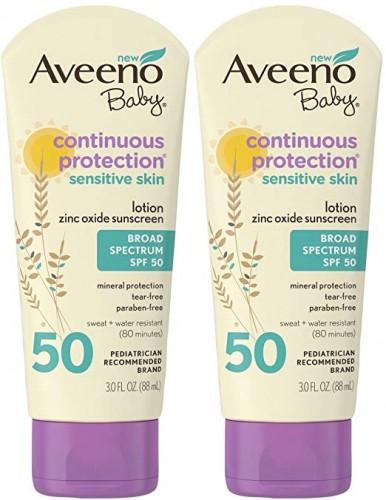 Aveeno Baby Continuous Protection Sensitive Skin Lotion Zinc Oxide Sunscreen Spf 50 3 Oz (Pack Of 2)