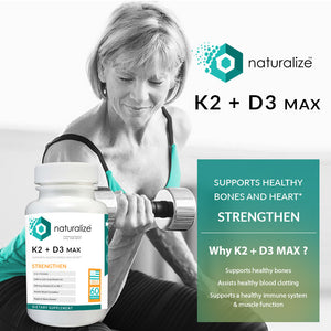 Naturalize Calcium With K2 + D3 Max Supports Healthy Bones And Heart 60 Capsules