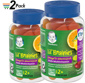Gerber Lil Brainies Kids Gummy Multivitamin: Omega 3, 6 & 9 from chia Seed Oil, Plant-Based DHA and Choline for Brain Development & Memory, Non-GMO, Gluten-Free, 60 Count Pack of 2