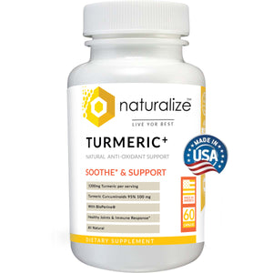 Naturalize Turmeric + with Bioperine 1200mg Curcumin Natural Anti-Oxidant Support 60 Capsules