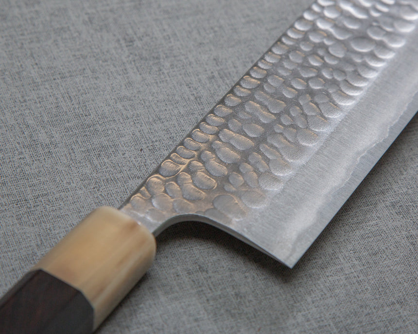 Katsushige Anryu Aogami #2 Tsuchime 165mm Nakiri with Ebony White Buffalo Horn Handle