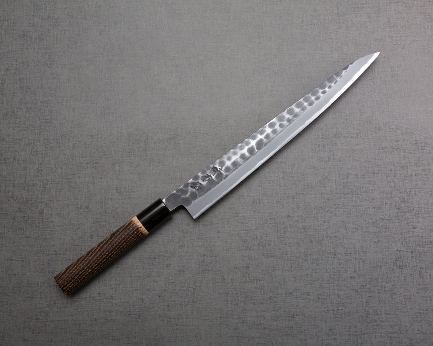 "Hinoura ""Ajikataya"" Shirogami #2 Kurouchi Tsuchime 270mm Sujihiki with Charred Chestnut / Buffalo Horn Handle"