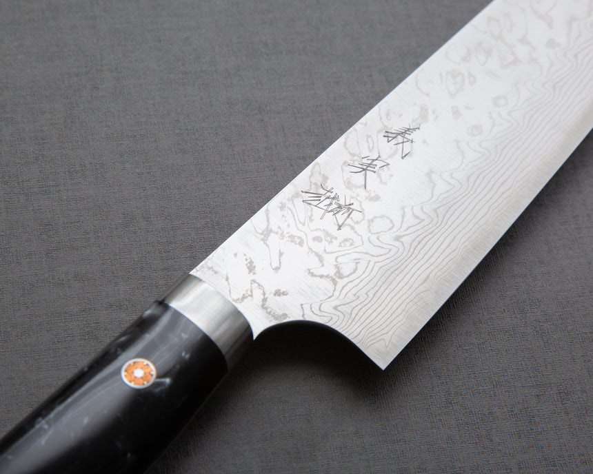 Yoshimi Kato R2/SG2 Diamond Damascus 210mm Gyuto with Polished Black & White Acrylic Handle