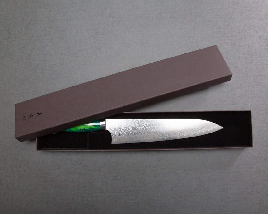Yoshimi Kato R2/SG2 Diamond Damascus 240mm Gyuto with Polished Lime Green Acrylic Handle