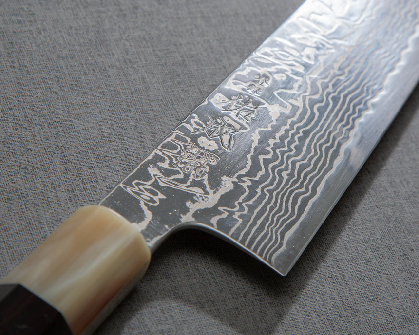 Sukenari ZDP-189 Mirror Damascus Gyuto with Ebony Blond Buffalo Horn Handle