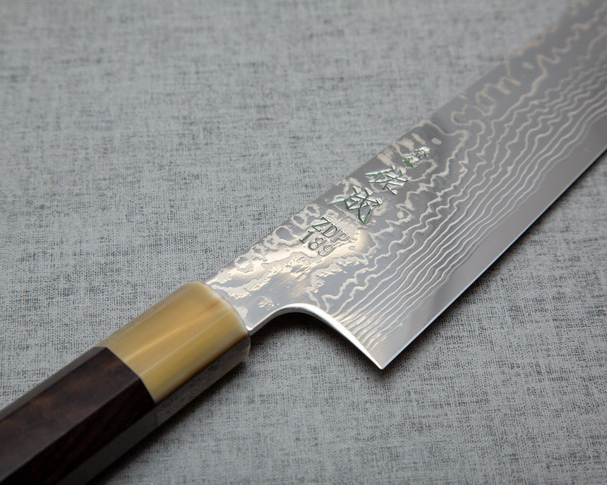 Sukenari ZDP-189 Mirror Damascus Kiritsuke with Ebony Buffalo Horn Handle