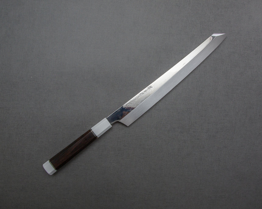 "Sakai Takayuki ""Sinuchi Hienn"" Mizu-Honyaki Shirogami #2 Mirror-Finish 300mm Kiritsuke Yanagiba with Ebony Handle and Shiroishime Saya"