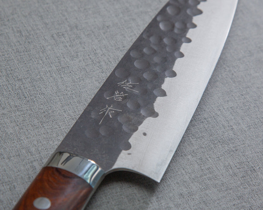 Takeshi Saji Aogami Super Kurouchi Tsuchime 180mm Santoku with Ironwood Handle