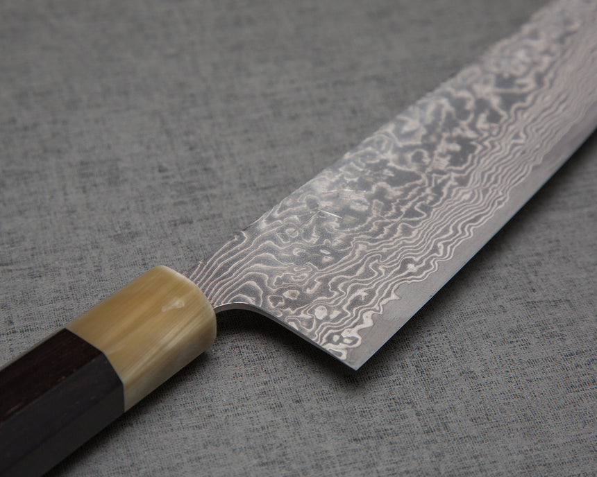 Takeshi Saji R2/SG2 Black Damascus Kiritsuke Gyuto with White Ebony Buffalo Horn Handle