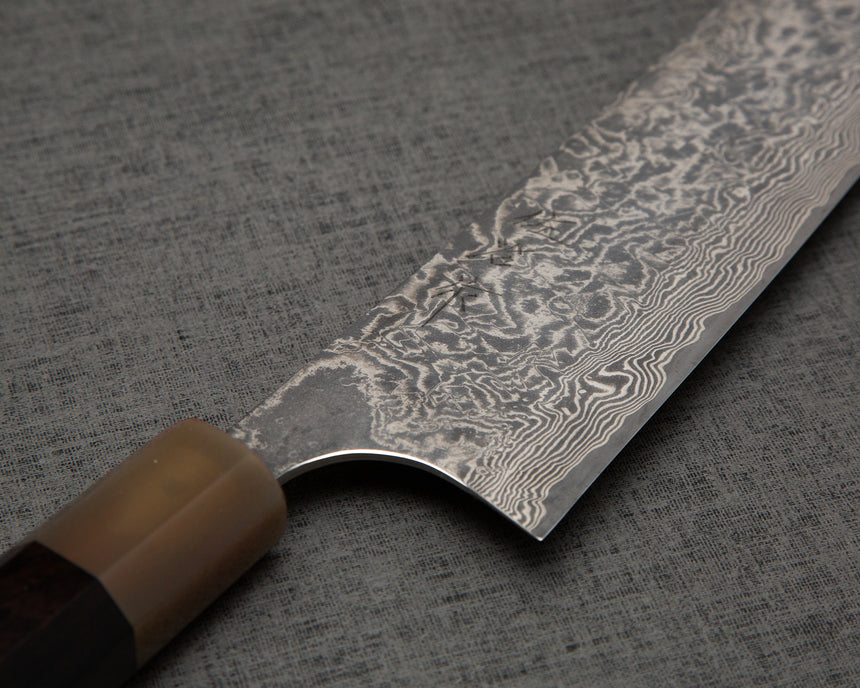 Takeshi Saji R2/SG2 Black Damascus Kiritsuke with Ebony Buffalo Horn Handle