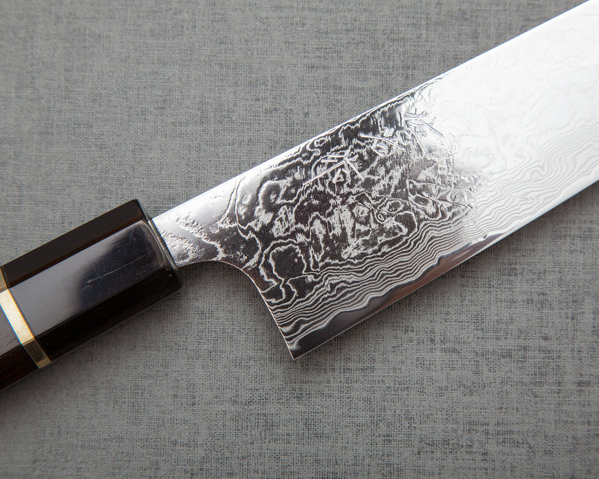 Takeshi Saji R2/SG2 Mirror Damascus 180mm Gyuto with Silver Ring Ebony Buffalo Horn Handle
