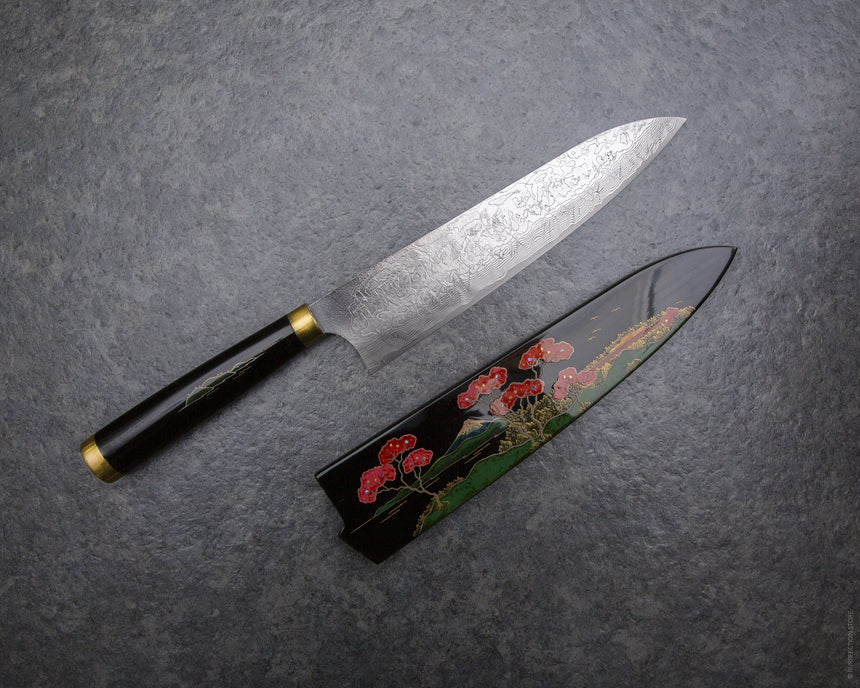 Takeshi Saji R2/SG2 Damascus 210mm Gyuto with Maki-e Art (Mount Fuji) Handle and Saya