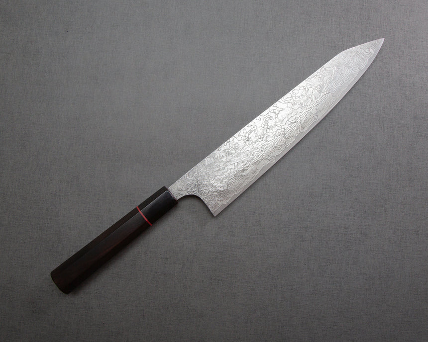 Takeshi Saji R2/SG2 Diamond Damascus 270mm Kiritsuke Gyuto with Red Ring Buffalo Horn Handle