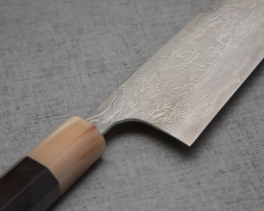 Takeshi Saji R2/SG2 Diamond Damascus Kiritsuke Gyuto with Ebony Buffalo Horn Handle
