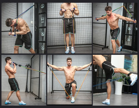 Total-Body Resistance Band Training Home Gym for Door Attached Bands
