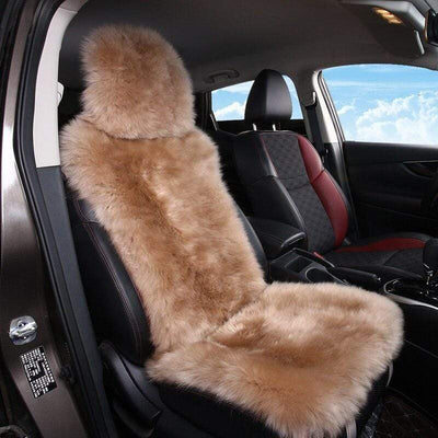 Primenzo 200000206 Sheepskin fur Car Seat Covers, Universal Size Australian long Wool Car Seat Cushion for Adult Man Women, 1 Piece Seat 1 PCS Camel Brown / China