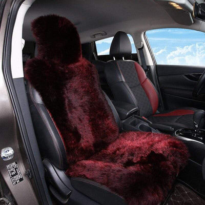 Primenzo 200000206 Sheepskin fur Car Seat Covers, Universal Size Australian long Wool Car Seat Cushion for Adult Man Women, 1 Piece Seat 1 PCS Grape Red / China