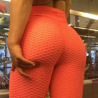 Primenzo 200000614 High elasticity Women Anti-Cellulite Sport leggings Push Up Tights Gym High Waist Fitness Running Athletic pant mujer leggins Orange-Red / S / China