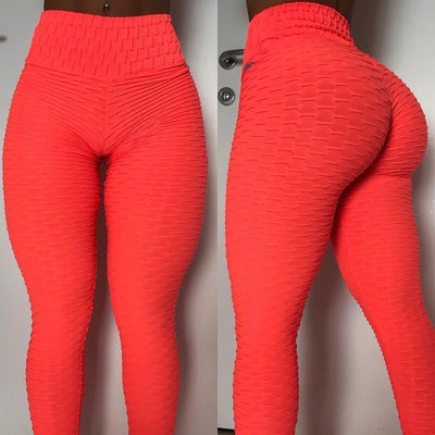 Primenzo 200000614 High elasticity Women Anti-Cellulite Sport leggings Push Up Tights Gym High Waist Fitness Running Athletic pant mujer leggins Red / S / China
