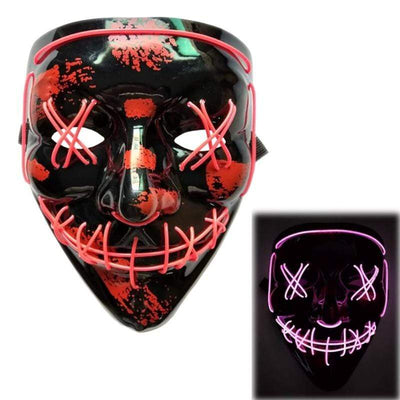 Primenzo halloween masks The Scariest Halloween LED Purge Mask Pink