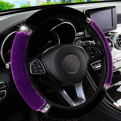 Primenzo steering wheel covers Ultra-Soft Luxury Steering Wheel Covers Black-Purple