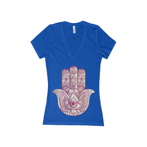 Hamsa Women's Jersey Short Sleeve Deep V-Neck Tee