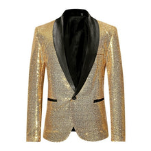 Load image into Gallery viewer, CYSINCOS Mens Sequins Suit Blazer Jacket Shiny Gold Glitter Men Shawl Collar Club DJ Blazer Jacket Stage Clothes Singers Wedding