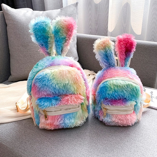 Cute Faux Fur Mini Backpack Rabbit Ear Women Travel bag