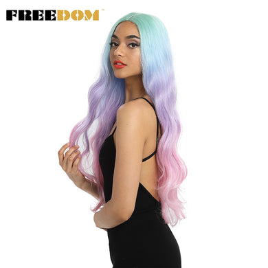 FREEDOM Synthetic Lace Front Wigs Long Natural Wave 30inch
