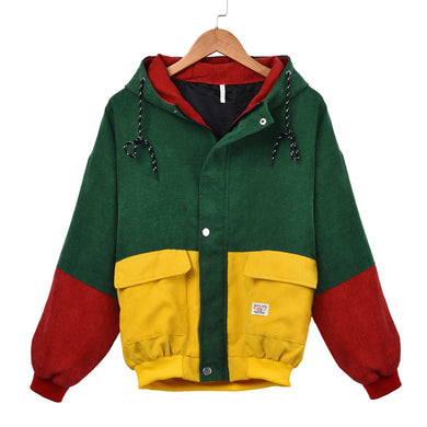 Feitong Harajuku Style Women Winter Warm Color Block Hooded Corduroy Jacket Long Sleeve Patchwork Oversize Zipper Jacket
