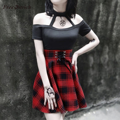 Free Ostrich Party Dress Women dress Gothic Style Punk Retro Printed Plaid Hanging Neck summer dress mini sexy Dress vestidos 9