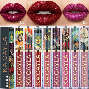 Halloween Theme Red Matte Lipstick Liquid Lipstick Makeup Lip Gloss Glitter