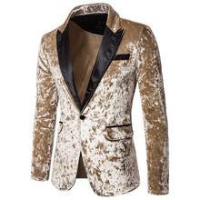 Load image into Gallery viewer, Luxury velvet Mens blazers Leisure Wedding Groom Singer Slim Fit male Blazer Business Solid suits Jacket Coat blaser masculino