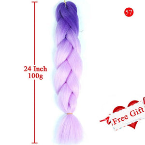 MEIFAN 24 Inch Crochet Hair Synthetic Hair African Afro Jumbo Hair Braids Blue Colored Strands Ombre False Braiding Hair