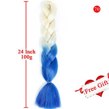 Load image into Gallery viewer, MEIFAN 24 Inch Crochet Hair Synthetic Hair African Afro Jumbo Hair Braids Blue Colored Strands Ombre False Braiding Hair