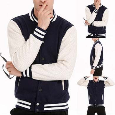 Men Baseball Jacket Fashion Men's Autumn New Fashion Slim Fit College Casual Men's Stand Collar Top Jacket Coat Sweater Jacket