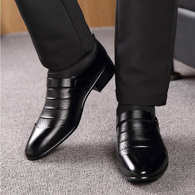 Men's Business Dress Pointed Leather Shoes Casual Breathable