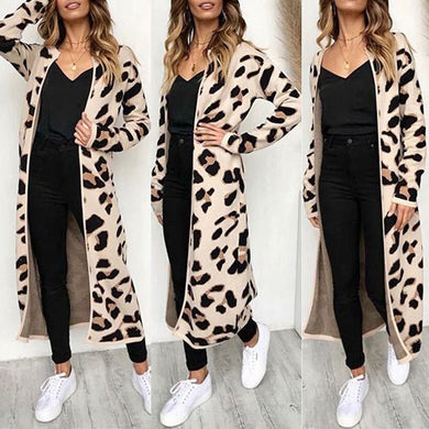 New sweater women Long Sleeve Leopard Print Cardigan Open Front Jacket Coat blusas femininas sueter mujer invierno 2019