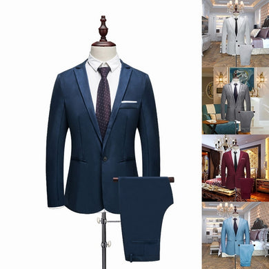 Oeak Man Thin Section Suits Pure Color Groom Tuxedos Suit  Spring and Autumn Wedding Suits (Jacket+ Pant) Male Plus Size 3XL