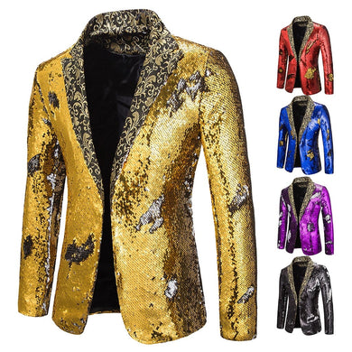 Puimentiua Men Black Gold Sequin Double Breasted One Button Suit Men Wedding Party Stage Singer Costumes Nightclub Prom Blazer