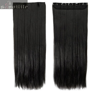 S-noilite clip in Hair Extensions Black Brown Natural Straight