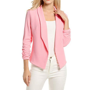 Women Blazer Work Office Coat 3/4 Sleeve Blazer Open Front Short Cardigan Suit Jacket blazer longo feminino 2019 пиджак женский