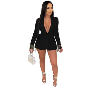 Women Two Piece Sets Long Sleeve Tassel Blazer And Shorts Elegant Official Lady Suits Matching Sets Club Outfits 2019