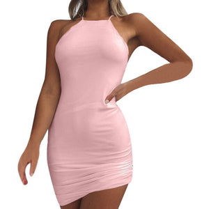 Women's Summer Sexy Vestidos Fashion Solid Sleeveless Halter Halter Mini Dress Party Dress Solid Color Hanging Neck Dresses New