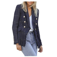 Load image into Gallery viewer, black Plaid Blazer 2019 Women Spring-Autumn jacket