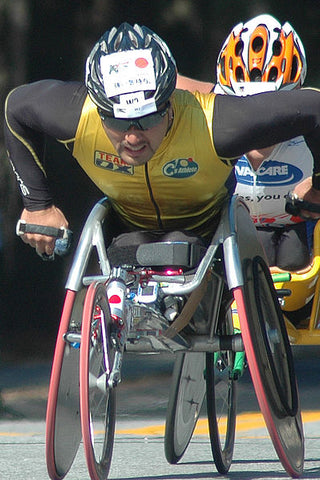 Participant in the wheelchair division of the Boston Marathon