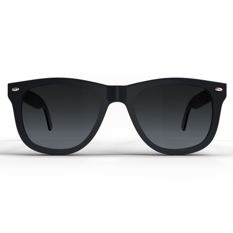 Black spartan frame sunglasses with gold accents